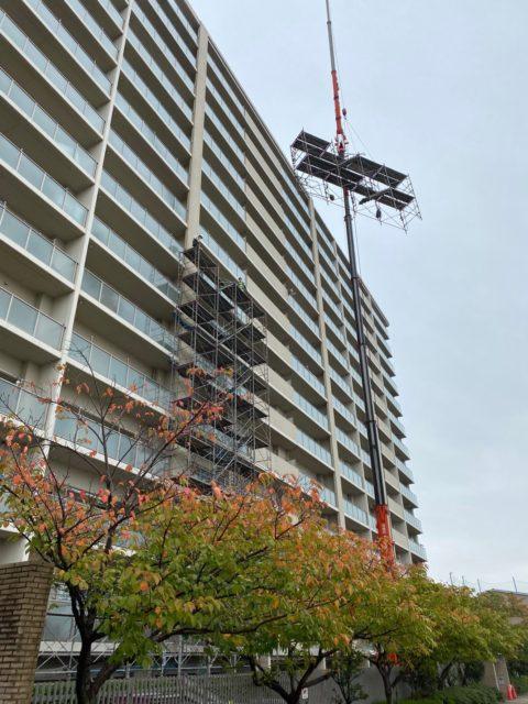 マンション大規模改修工事組立開始